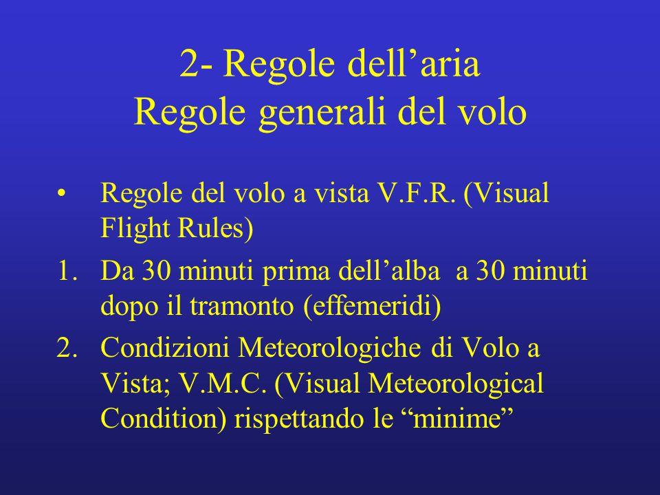 2- Regole dell'aria Regole generali del volo Regole del volo a vista V.F.R. (Visual Flight Rules) 1.Da 30 minuti prima dell'alba a 30 minuti dopo il t