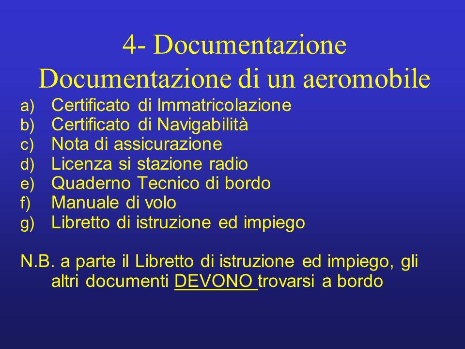 4- Documentazione Documentazione di un aeromobile a) Certificato di Immatricolazione b) Certificato di Navigabilità c) Nota di assicurazione d) Licenz