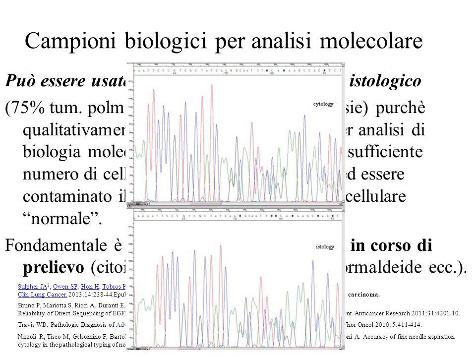 Campioni biologici per analisi molecolare Può essere usato sia materiale citologico che istologico (75% tum. polm. solo citologia o piccole biopsie) p