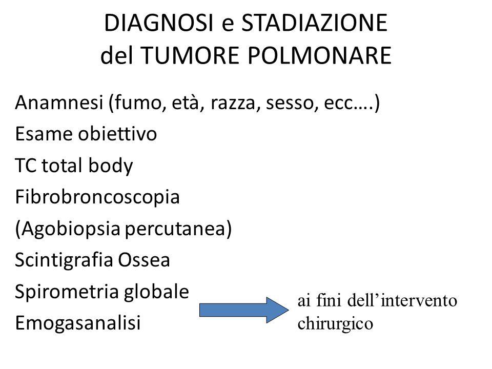 DIAGNOSI e STADIAZIONE del TUMORE POLMONARE Anamnesi (fumo, età, razza, sesso, ecc….) Esame obiettivo TC total body Fibrobroncoscopia (Agobiopsia perc