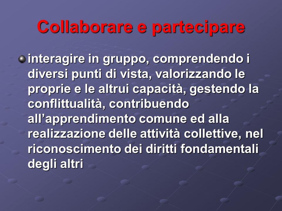 Collaborare e partecipare interagire in gruppo, comprendendo i diversi punti di vista, valorizzando le proprie e le altrui capacità, gestendo la confl