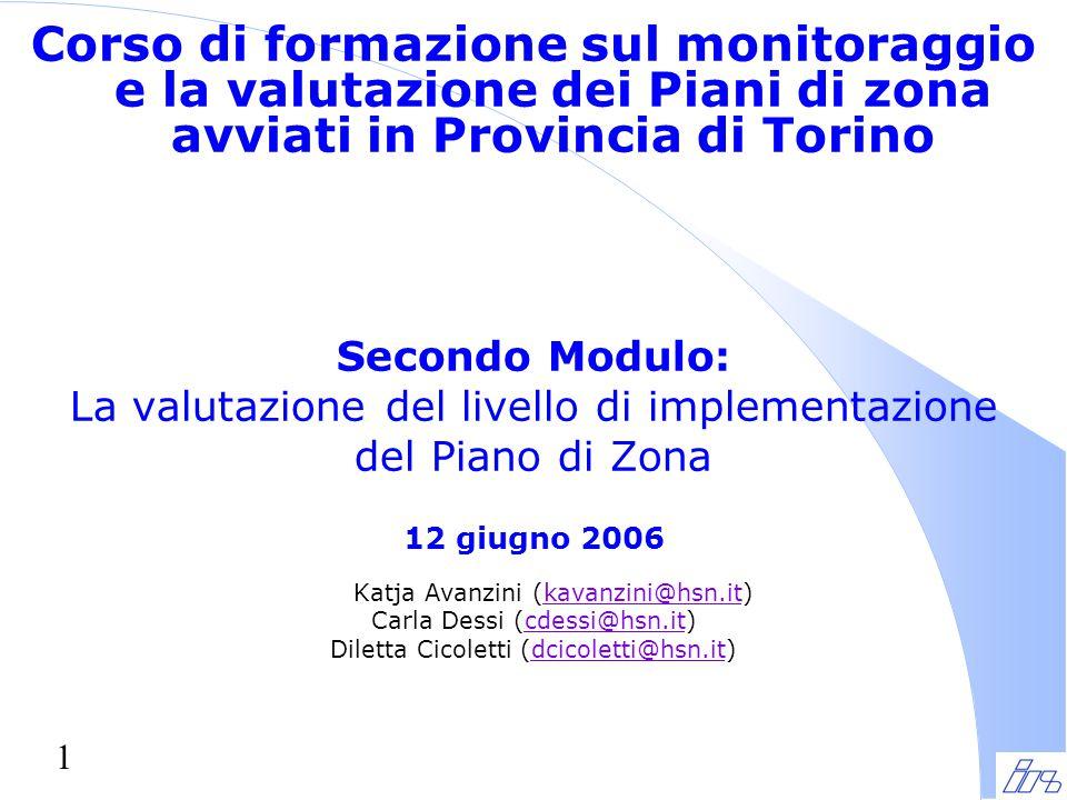 1 Corso di formazione sul monitoraggio e la valutazione dei Piani di zona avviati in Provincia di Torino Secondo Modulo: La valutazione del livello di implementazione del Piano di Zona 12 giugno 2006 Katja Avanzini (kavanzini@hsn.it)kavanzini@hsn.it Carla Dessi (cdessi@hsn.it)cdessi@hsn.it Diletta Cicoletti (dcicoletti@hsn.it)dcicoletti@hsn.it