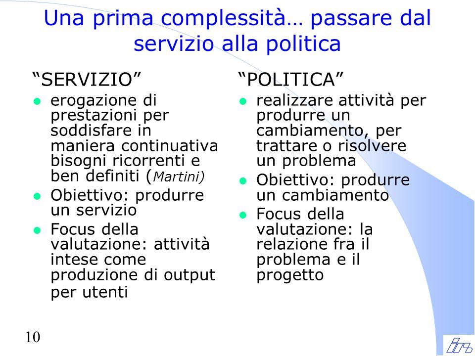 """10 Una prima complessità… passare dal servizio alla politica """"SERVIZIO"""" l erogazione di prestazioni per soddisfare in maniera continuativa bisogni ric"""