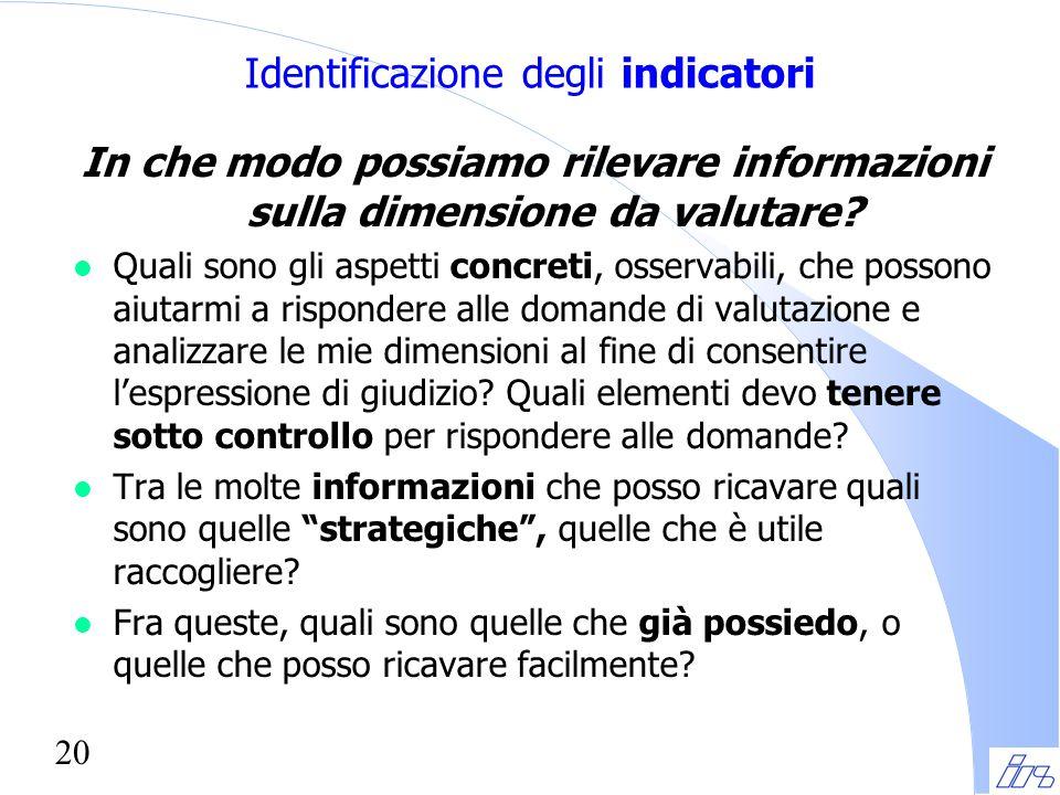 20 Identificazione degli indicatori In che modo possiamo rilevare informazioni sulla dimensione da valutare? l Quali sono gli aspetti concreti, osserv