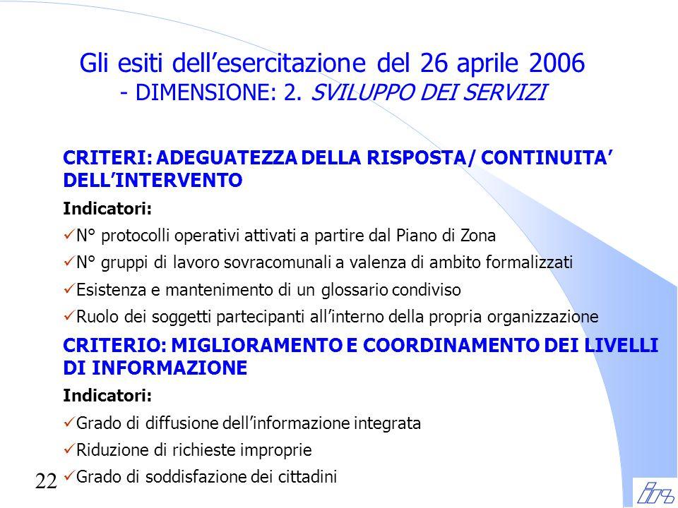 22 Gli esiti dell'esercitazione del 26 aprile 2006 - DIMENSIONE: 2. SVILUPPO DEI SERVIZI CRITERI: ADEGUATEZZA DELLA RISPOSTA/ CONTINUITA' DELL'INTERVE
