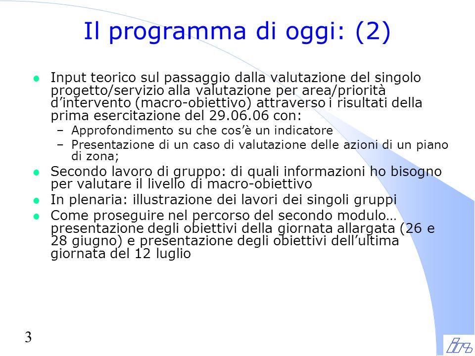 3 Il programma di oggi: (2) l Input teorico sul passaggio dalla valutazione del singolo progetto/servizio alla valutazione per area/priorità d'interve