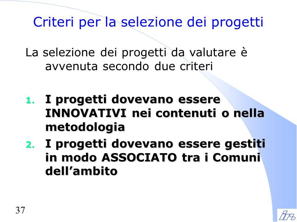 37 Criteri per la selezione dei progetti La selezione dei progetti da valutare è avvenuta secondo due criteri 1. I progetti dovevano essere INNOVATIVI