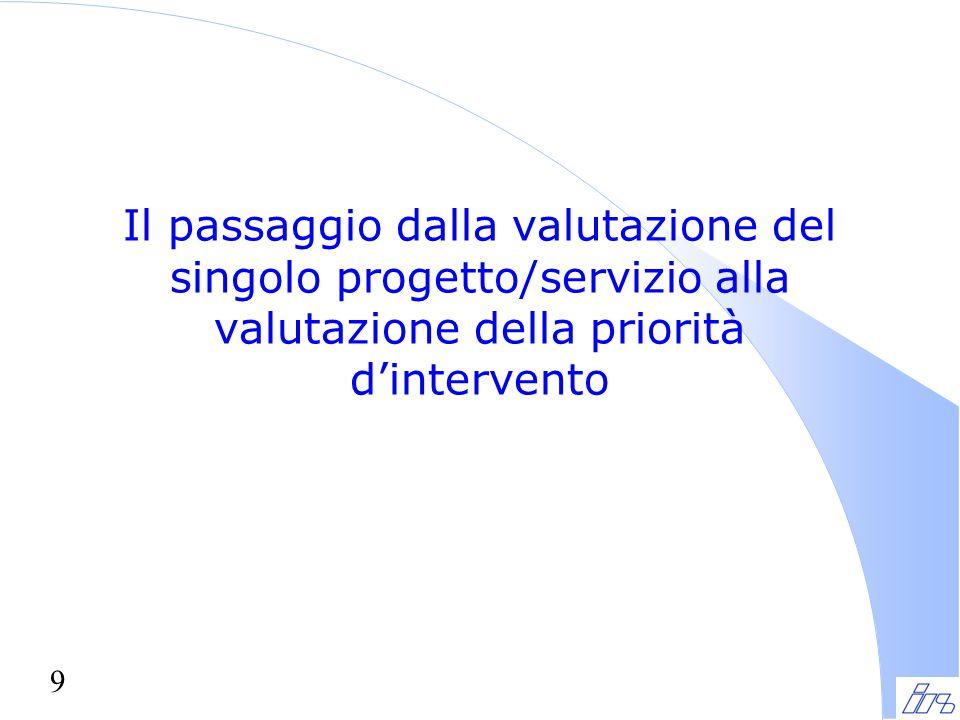 9 Il passaggio dalla valutazione del singolo progetto/servizio alla valutazione della priorità d'intervento