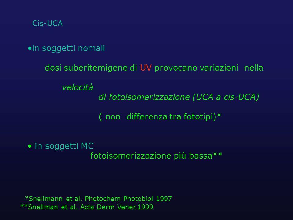 in soggetti nomali dosi suberitemigene di UV provocano variazioni nella velocità di fotoisomerizzazione (UCA a cis-UCA) ( non differenza tra fototipi)