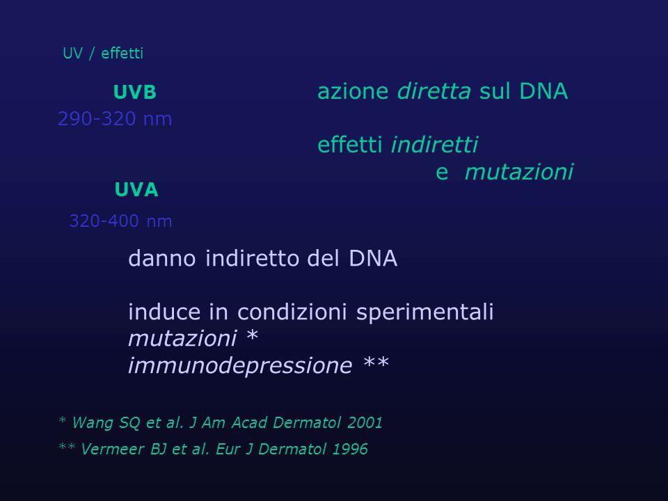 UV / effetti UVB azione diretta sul DNA 290-320 nm effetti indiretti e mutazioni UVA 320-400 nm danno indiretto del DNA induce in condizioni sperimentali mutazioni * immunodepressione ** * Wang SQ et al.