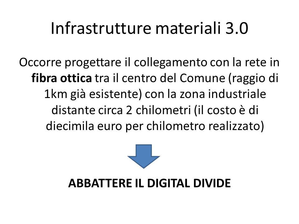 Infrastrutture materiali 3.0 Occorre progettare il collegamento con la rete in fibra ottica tra il centro del Comune (raggio di 1km già esistente) con
