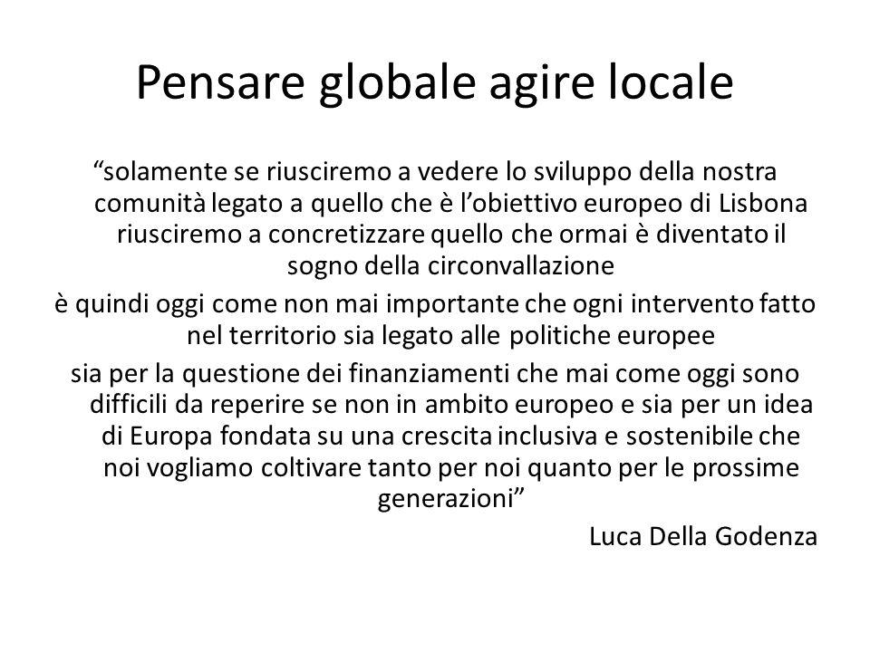 """Pensare globale agire locale """"solamente se riusciremo a vedere lo sviluppo della nostra comunità legato a quello che è l'obiettivo europeo di Lisbona"""