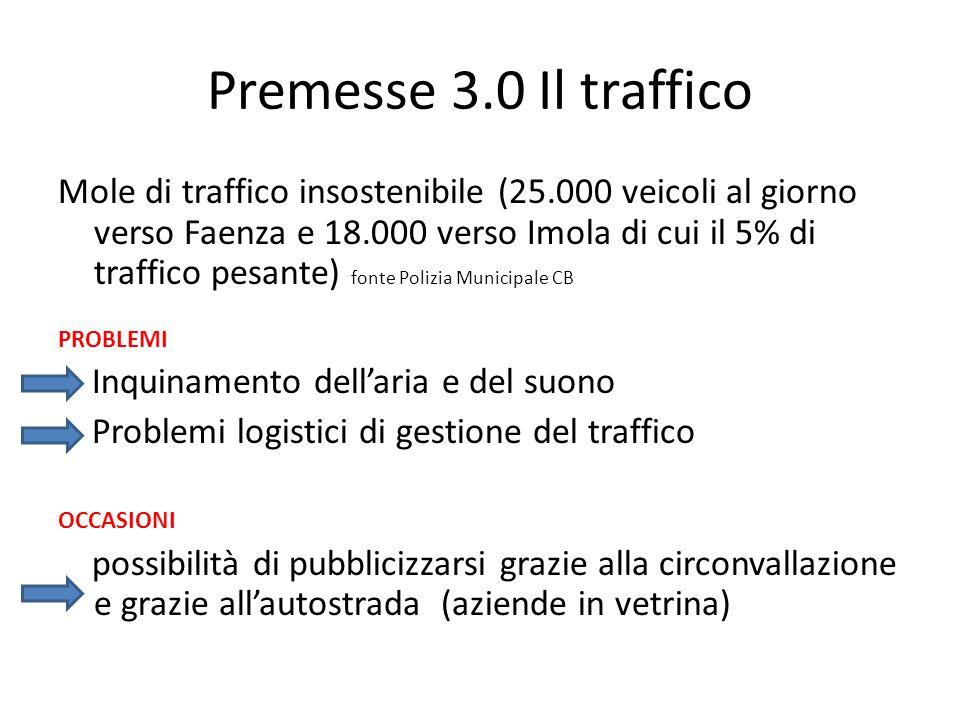 Premesse 3.0 Il traffico Mole di traffico insostenibile (25.000 veicoli al giorno verso Faenza e 18.000 verso Imola di cui il 5% di traffico pesante)