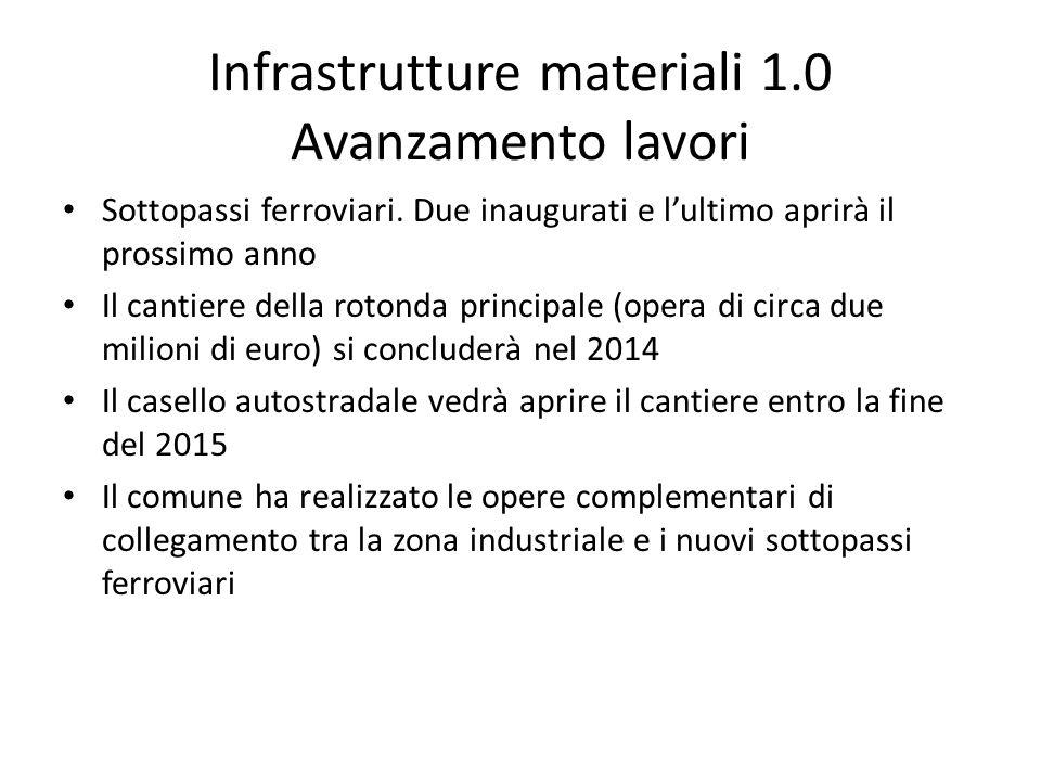 Infrastrutture materiali 1.0 Avanzamento lavori Sottopassi ferroviari. Due inaugurati e l'ultimo aprirà il prossimo anno Il cantiere della rotonda pri