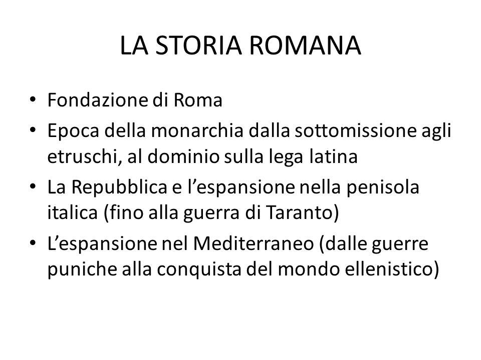 LA STORIA ROMANA Fondazione di Roma Epoca della monarchia dalla sottomissione agli etruschi, al dominio sulla lega latina La Repubblica e l'espansione