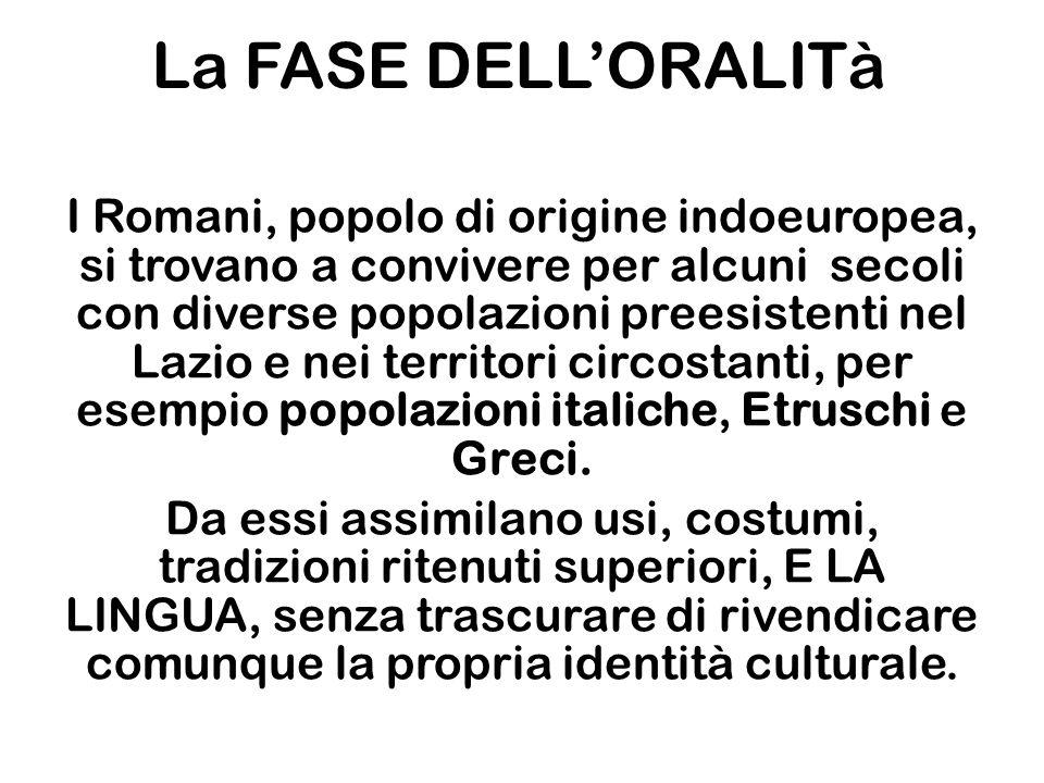 La FASE DELL'ORALITà I Romani, popolo di origine indoeuropea, si trovano a convivere per alcuni secoli con diverse popolazioni preesistenti nel Lazio