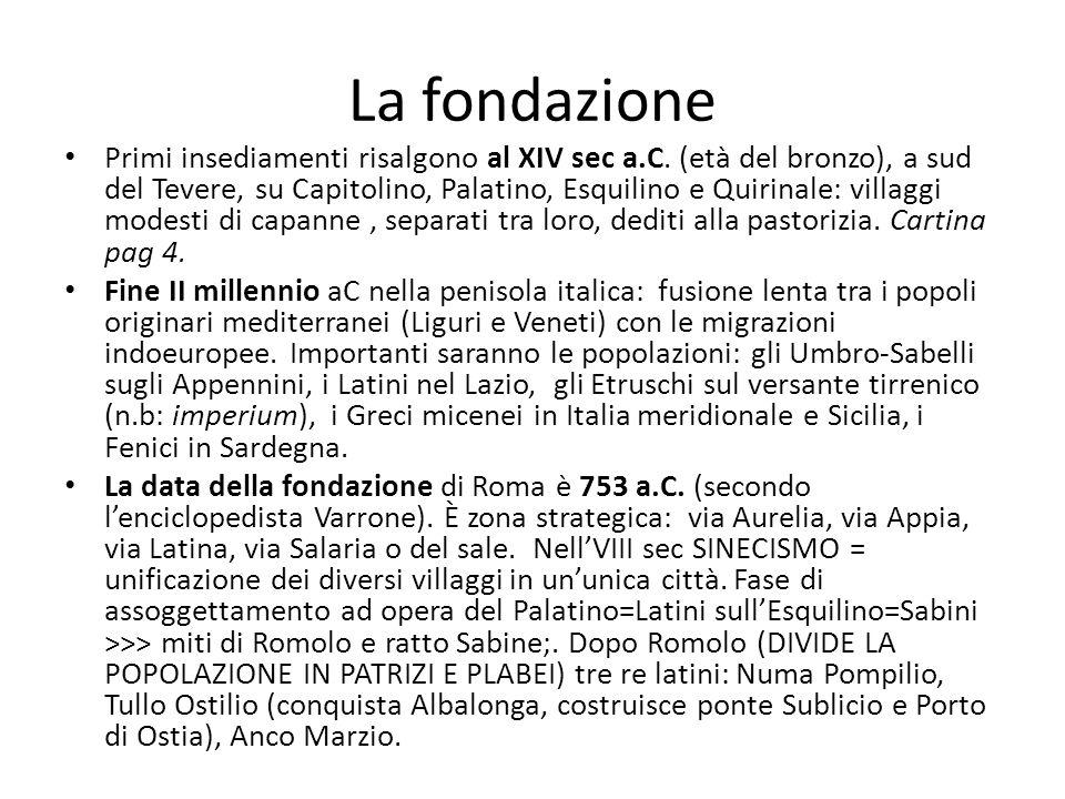 La fondazione Primi insediamenti risalgono al XIV sec a.C. (età del bronzo), a sud del Tevere, su Capitolino, Palatino, Esquilino e Quirinale: villagg
