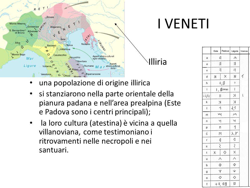 I VENETI una popolazione di origine illirica si stanziarono nella parte orientale della pianura padana e nell'area prealpina (Este e Padova sono i cen