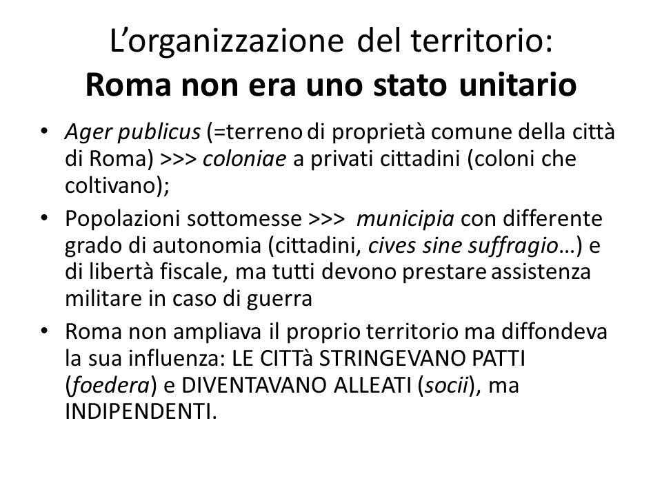 L'organizzazione del territorio: Roma non era uno stato unitario Ager publicus (=terreno di proprietà comune della città di Roma) >>> coloniae a priva