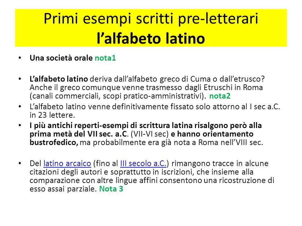Primi esempi scritti pre-letterari l'alfabeto latino Una società orale nota1 L'alfabeto latino deriva dall'alfabeto greco di Cuma o dall'etrusco? Anch