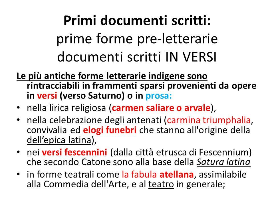 Primi documenti scritti: prime forme pre-letterarie documenti scritti IN VERSI Le più antiche forme letterarie indigene sono rintracciabili in frammen