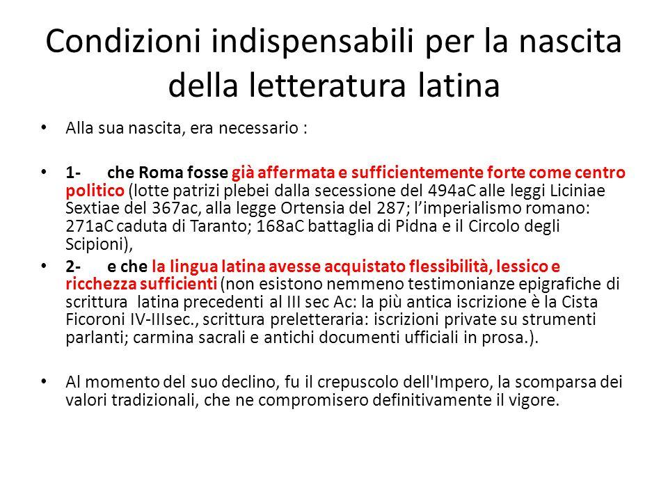 Condizioni indispensabili per la nascita della letteratura latina Alla sua nascita, era necessario : 1-che Roma fosse già affermata e sufficientemente