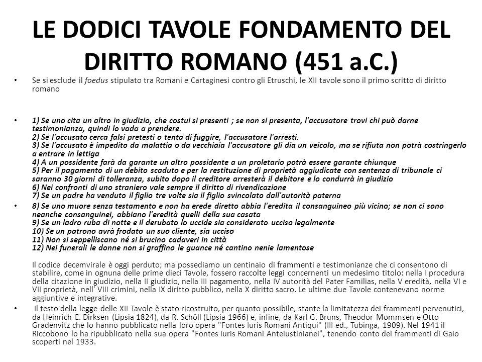 LE DODICI TAVOLE FONDAMENTO DEL DIRITTO ROMANO (451 a.C.) Se si esclude il foedus stipulato tra Romani e Cartaginesi contro gli Etruschi, le XII tavol