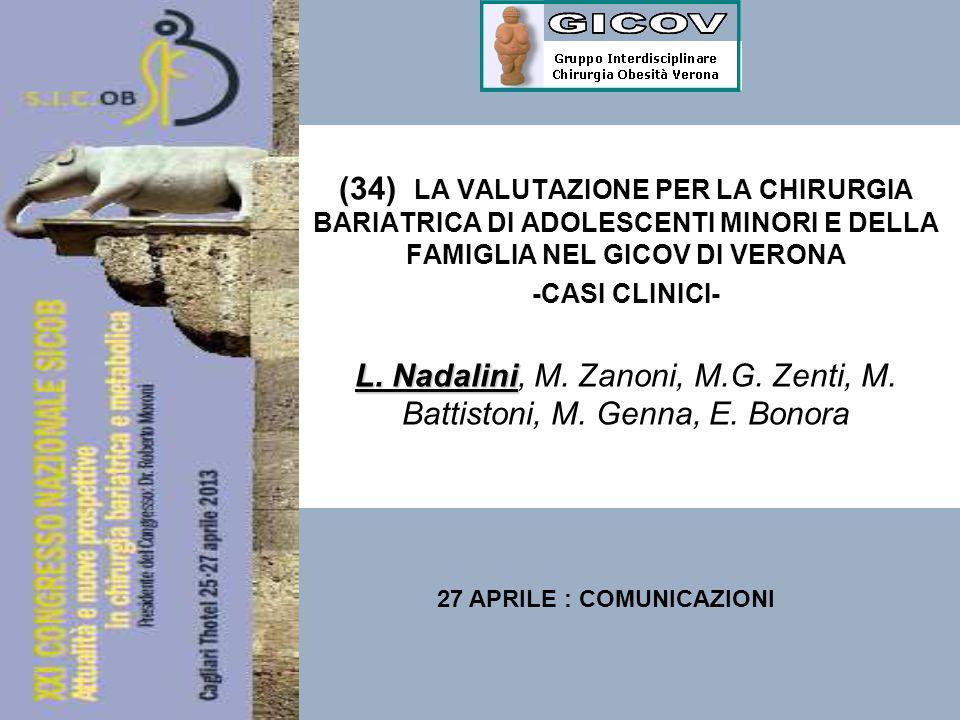 (34) LA VALUTAZIONE PER LA CHIRURGIA BARIATRICA DI ADOLESCENTI MINORI E DELLA FAMIGLIA NEL GICOV DI VERONA -CASI CLINICI- L. Nadalini L. Nadalini, M.