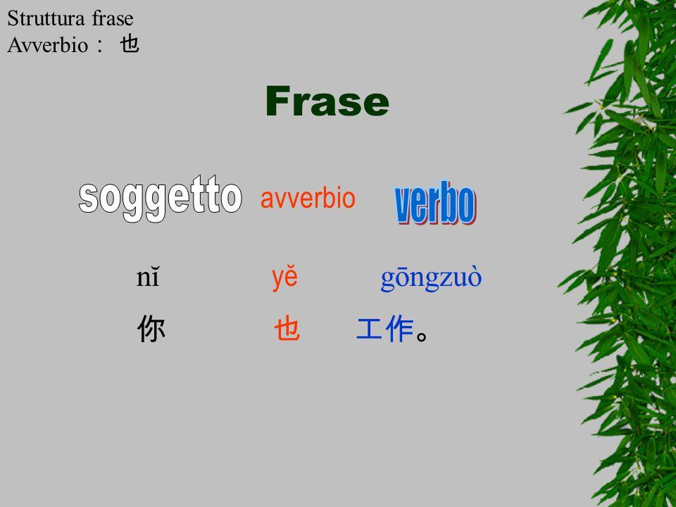 Frase nĭ yĕ gōngzuò 你也 工作。 avverbio Struttura frase Avverbio : 也