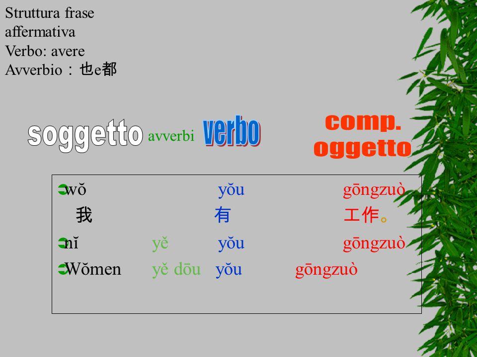  wŏ yŏugōngzuò 我 有工作。  nĭyě yŏugōngzuò  Wŏmenyě dōu yŏugōngzuò avverbi Struttura frase affermativa Verbo: avere Avverbio :也 e 都