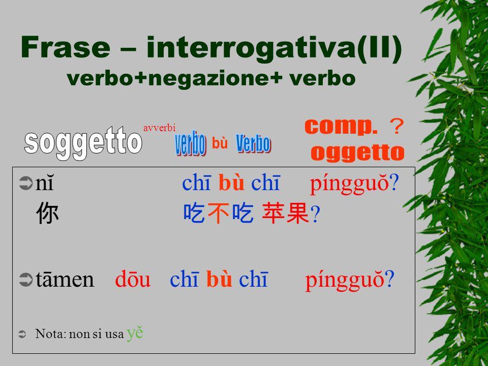 Frase – interrogativa(II) verbo+negazione+ verbo  nĭ chī bù chī píngguŏ? 你 吃不吃苹果 ?  tāmendōu chī bù chī píngguŏ?  Nota: non si usa yě bù avverbi