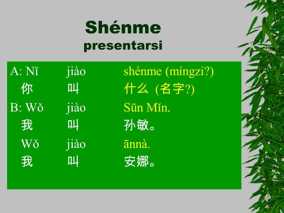 Shénme presentarsi A: Nǐjiàoshénme (míngzi?) 你叫什么 ( 名字 ?) B: WǒjiàoSūn Mǐn. 我叫孙敏。 Wǒjiàoānnà. 我叫安娜。