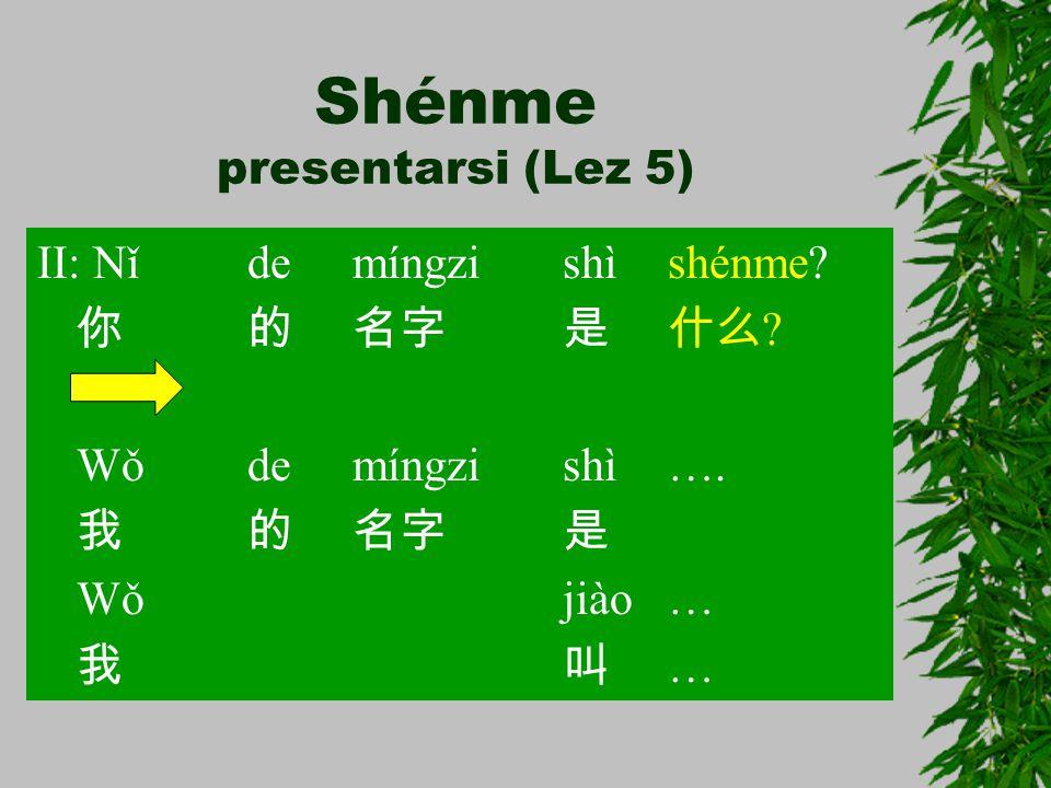 Shénme presentarsi (Lez 5) II: Nǐ de míngzi shì shénme? 你的名字是什么 ? Wǒ de míngzi shì…. 我的名字是 Wǒ jiào… 我叫 …