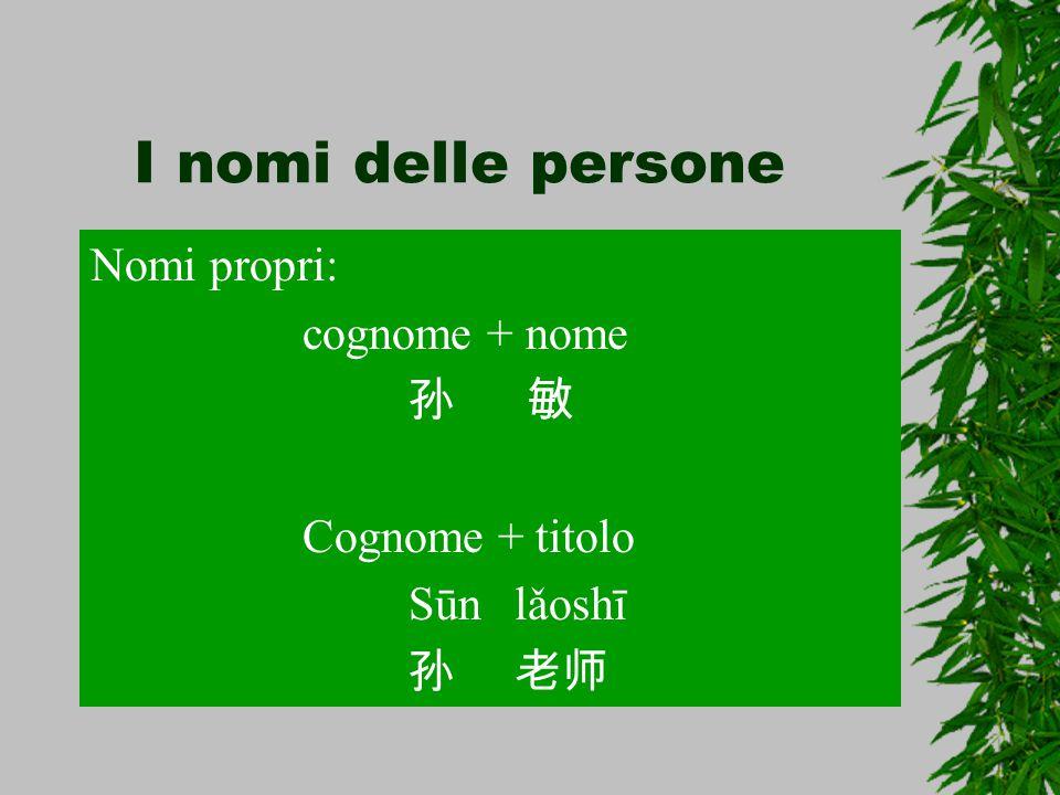 I nomi delle persone Nomi propri: cognome + nome 孙 敏 Cognome + titolo Sūnlǎoshī 孙老师