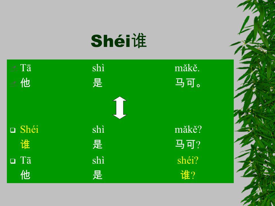 Shéi 谁  Tā shì mǎkě.  他是马可。  Shéishì mǎkě? 谁是马可 ?  Tā shì shéi? 他是 谁 ?