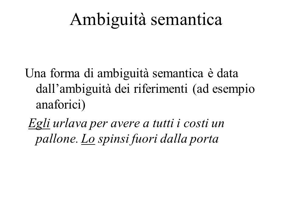 Ambiguità semantica Una forma di ambiguità semantica è data dall'ambiguità dei riferimenti (ad esempio anaforici) Egli urlava per avere a tutti i costi un pallone.