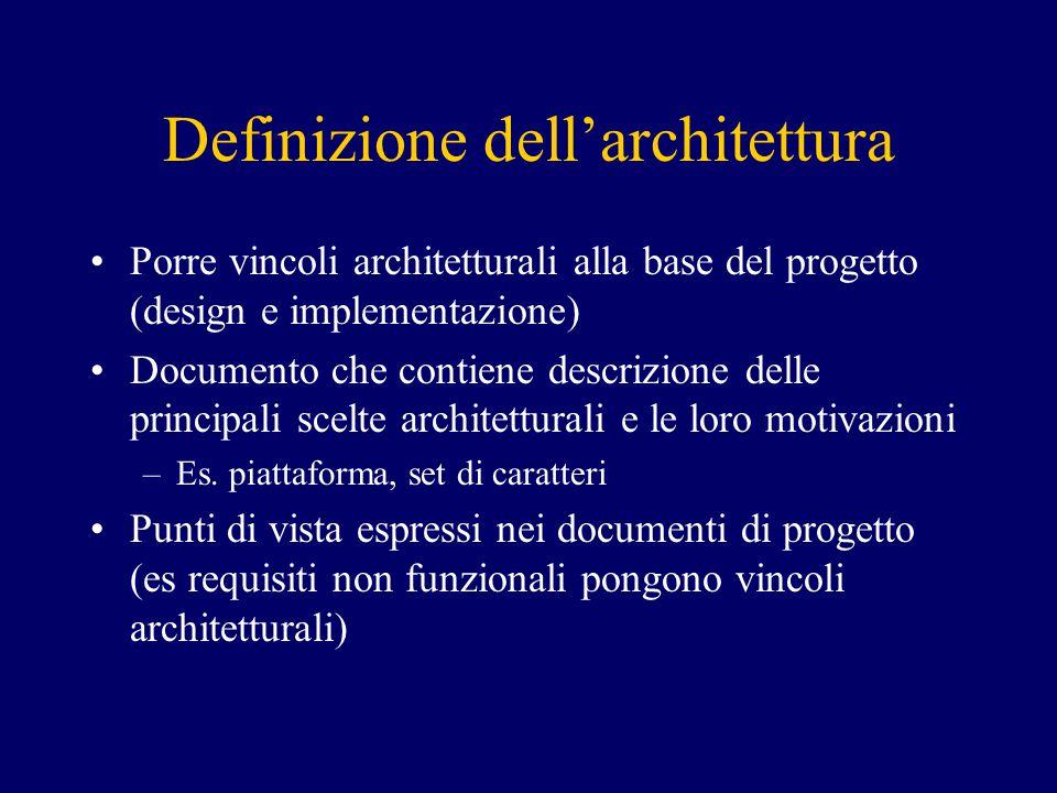 Definizione dell'architettura Porre vincoli architetturali alla base del progetto (design e implementazione) Documento che contiene descrizione delle principali scelte architetturali e le loro motivazioni –Es.