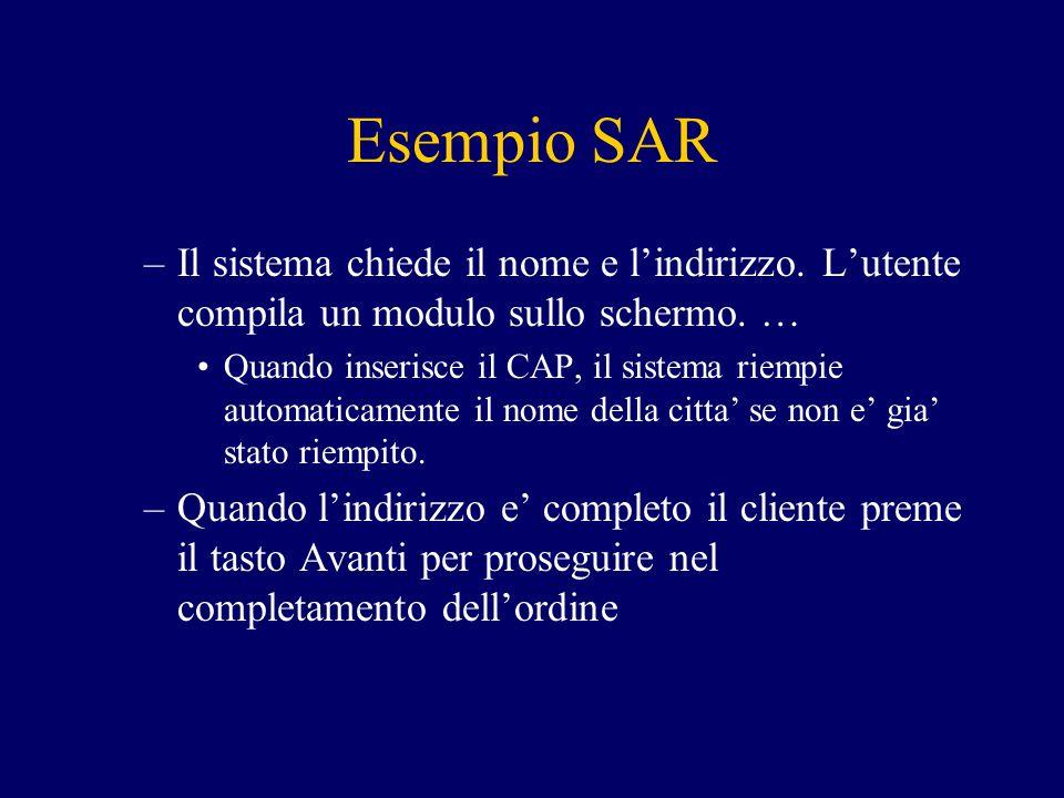 Esempio SAR –Il sistema chiede il nome e l'indirizzo. L'utente compila un modulo sullo schermo. … Quando inserisce il CAP, il sistema riempie automati