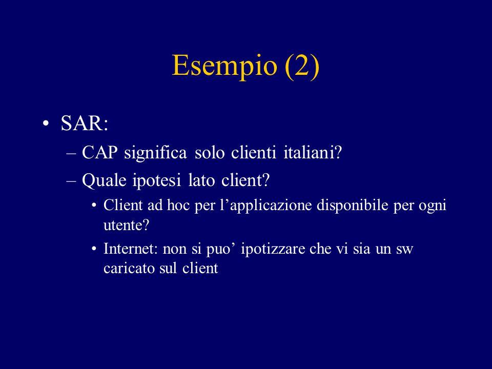 Esempio (2) SAR: –CAP significa solo clienti italiani? –Quale ipotesi lato client? Client ad hoc per l'applicazione disponibile per ogni utente? Inter