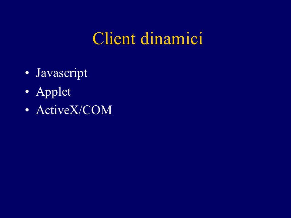 Client dinamici Javascript Applet ActiveX/COM
