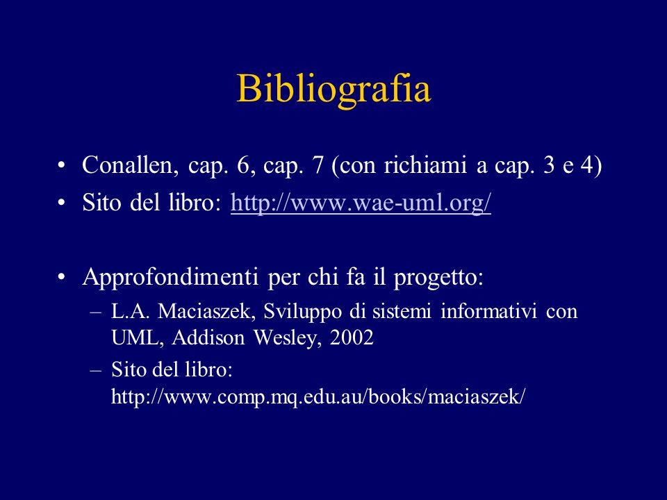 Bibliografia Conallen, cap. 6, cap. 7 (con richiami a cap. 3 e 4) Sito del libro: http://www.wae-uml.org/http://www.wae-uml.org/ Approfondimenti per c