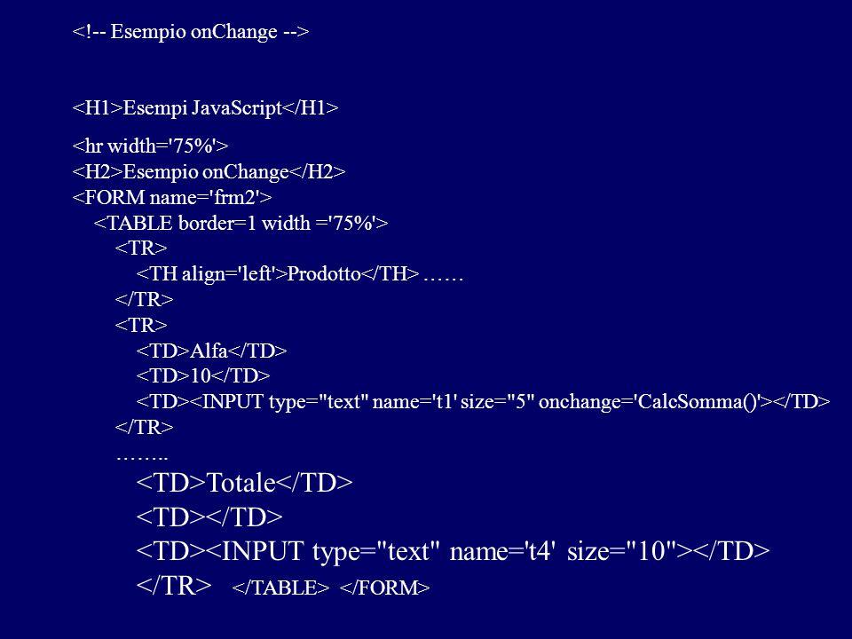 Esempi JavaScript Esempio onChange Prodotto …… Alfa 10 …….. Totale