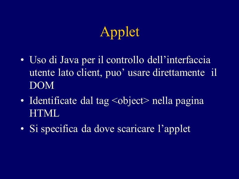 Applet Uso di Java per il controllo dell'interfaccia utente lato client, puo' usare direttamente il DOM Identificate dal tag nella pagina HTML Si specifica da dove scaricare l'applet