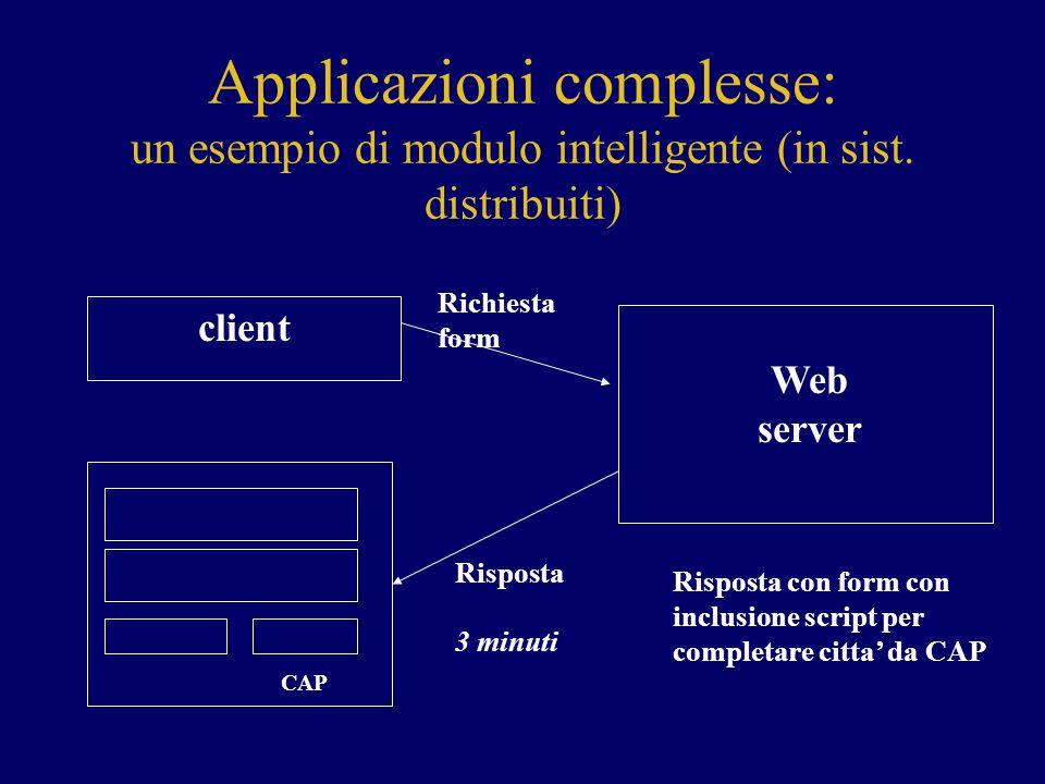 Applicazioni complesse: un esempio di modulo intelligente (in sist. distribuiti) client CAP Web server Richiesta form Risposta 3 minuti Risposta con f