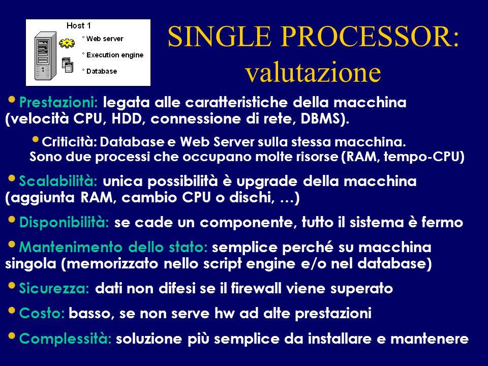SINGLE PROCESSOR: valutazione INTERNET Prestazioni: legata alle caratteristiche della macchina (velocità CPU, HDD, connessione di rete, DBMS). Critici