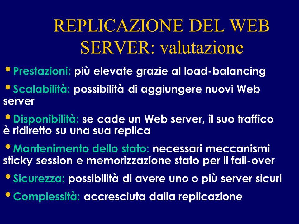 REPLICAZIONE DEL WEB SERVER: valutazione INTERNET Prestazioni: più elevate grazie al load-balancing Scalabilità: possibilità di aggiungere nuovi Web s