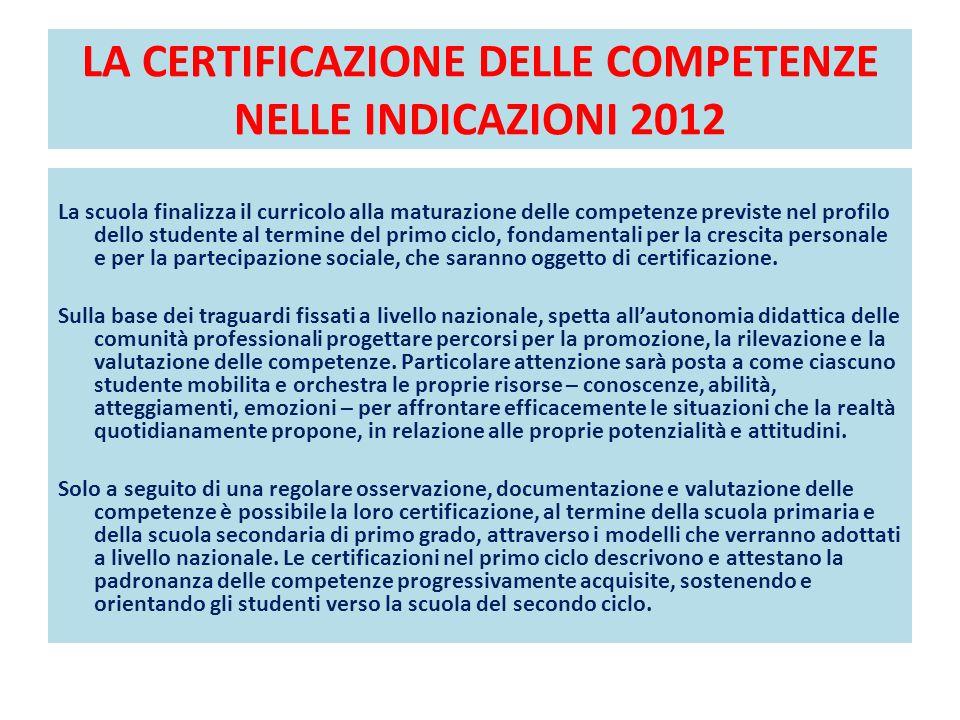 LA CERTIFICAZIONE DELLE COMPETENZE NELLE INDICAZIONI 2012 La scuola finalizza il curricolo alla maturazione delle competenze previste nel profilo dell