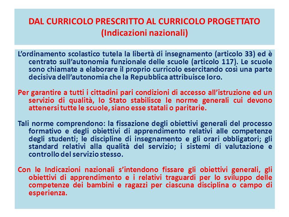 DAL CURRICOLO PRESCRITTO AL CURRICOLO PROGETTATO (Indicazioni nazionali) L'ordinamento scolastico tutela la libertà di insegnamento (articolo 33) ed è