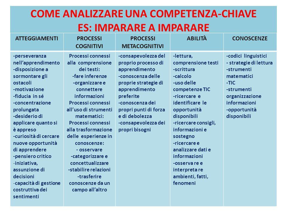 UN ESEMPIO DI ANALISI DELLE OTTO COMPETENZE CHIAVE http://www.comprensivinrete.net/attachment s/article/67/Verso%20un%20curricolo%20sos tenibile-%201.pdf