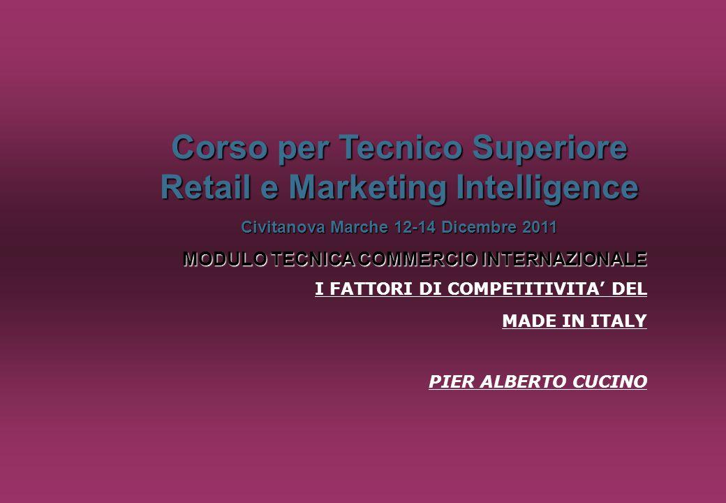 2 FATTORI BASE DELLA COMPETITIVITA' DEL MADE IN ITALY Fattori tecnologici Fattori umani Fattori di costo Fattori di marketing
